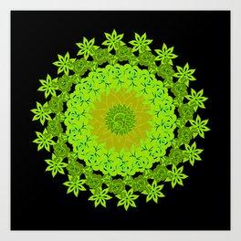Shades Of Purple And Green Mandala Floral Design Art Print
