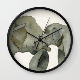 Mom and baby elephant Wall Clock
