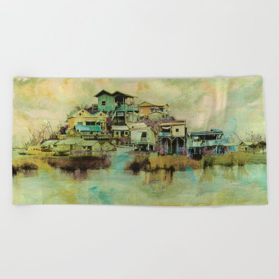 Drifting Along Tonle Sap River, Cambodia Beach Towel
