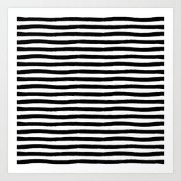 Black And White Hand Drawn Horizontal Stripes Art Print