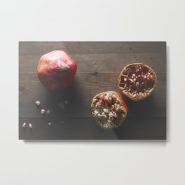 Pomegranate on wooden top Metal Print
