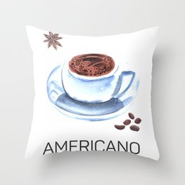 Americano Café Watercolor Throw Pillow