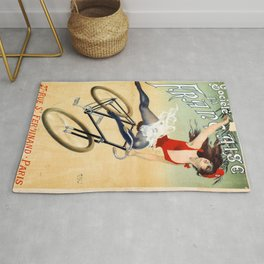 Poster vintage french bicycle girl Rug