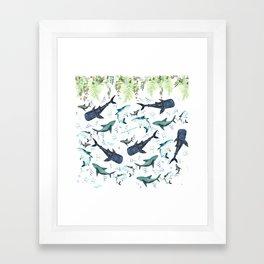 floral shark pattern Framed Art Print