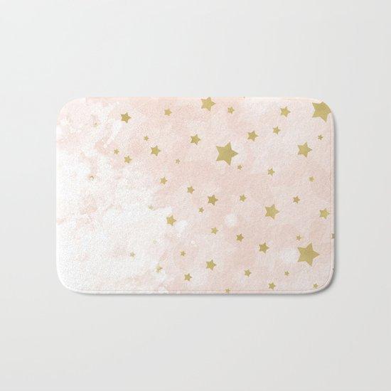 Gold stars on blush pink Bath Mat