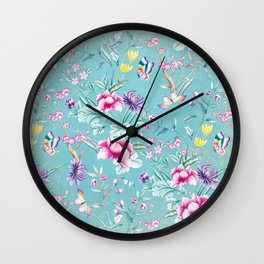 Pastel Teal Vintage Roses and Butterflies Pattern Wall Clock