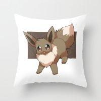 eevee Throw Pillows featuring Eevee by Mirikun