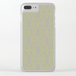 Simply Mid-Century Mod Yellow on Retro Gray Clear iPhone Case