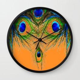 ORANGE BLUE-GREEN PEACOCK FEATHERS ART Wall Clock