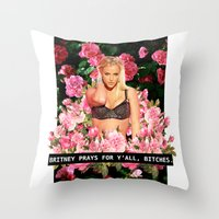 britney Throw Pillows featuring BRITNEY PRAYS. by eriicms