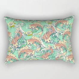 Golden Koi Fish in Pond Rectangular Pillow