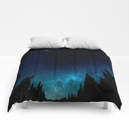 Black Trees Turquoise Milky Way Stars Comforters