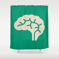 brain Shower Curtains featuring Brain by Blank & Vøid