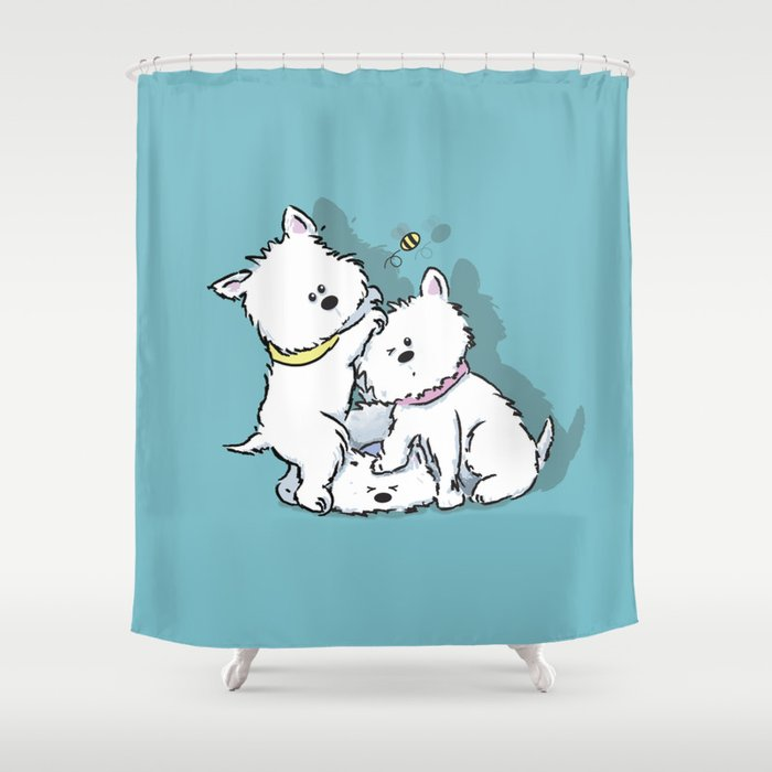 Westies Chasing A Bee Shower Curtain