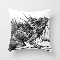 frog Throw Pillows featuring frog by Gemma Tegelaers