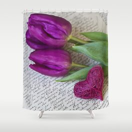 pink spring Tulips with heart Shower Curtain