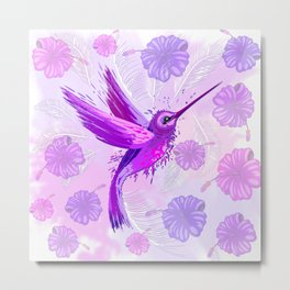 Hummingbird Spirit Purple Watercolor Metal Print