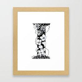 Floral Pen and Ink Letter I Framed Art Print