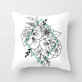Floral Bundle Illustration, Teal Throw Pillow