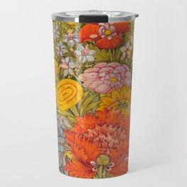 Bouquet of Flowers - Vintage Indian Art Print Travel Mug