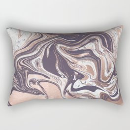 Liquid Rose Gold Violet and Marble Rectangular Pillow
