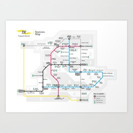 Kuwait City Metro Map Art Print