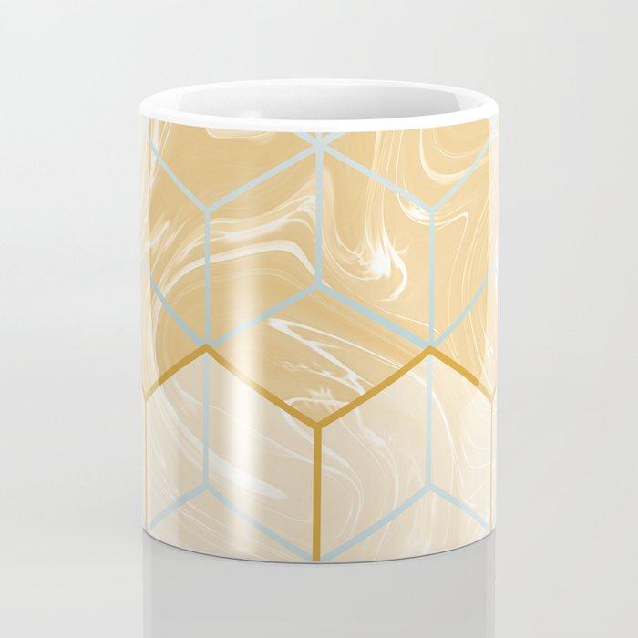 Geometric Effect Caramel Marble Design Coffee Mug