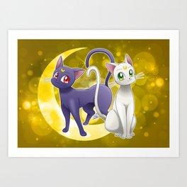 Luna & Artemis (Sailor Moon Crystal edit.) Art Print