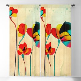 Exotic Watercolor Flower Blackout Curtain
