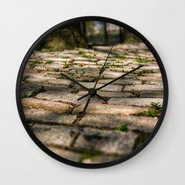 Pavement, cobble stone, sun shine, bench (2020-4-GNY107) Wall Clock