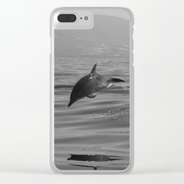 Black and white dolphin race in the ocean Clear iPhone Case