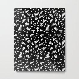 Memphis Night - black and white retro throwback 80's inspired pattern design Metal Print