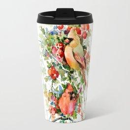 Cardinal Birds and Hawthorn Travel Mug