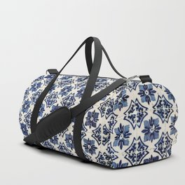 Vintage Blue Ceramic Tiles Duffle Bag