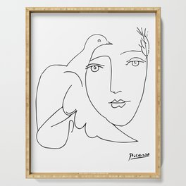 Pablo Picasso Peace (Dove and Face) T Shirt, Sketch Artwork Serving Tray