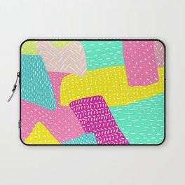 Modern summer rainbow color block hand drawn patchwork pattern illustration Laptop Sleeve
