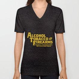 Guns Ammo T Shirts Alcohol Tobacco Firearms Funny 2Nd Amendment Gun T-Shirts Unisex V-Neck