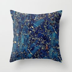 Dark blue stone marble abstract texture with gold streaks Throw Pillow