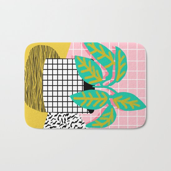 Get Real - potted plant throwback retro neon 1980s style art print minimal abstract grid lines shape Bath Mat