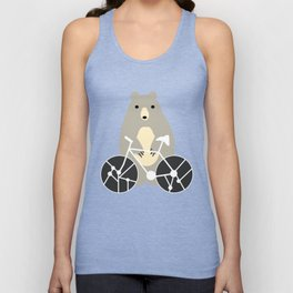 Bear with bike Unisex Tank Top