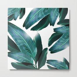 Banana leaf, Tropical palm leaf, banana palm, Flowing palms, blues, turquoise, Hawaii, beach decor Metal Print