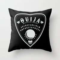 ouija Throw Pillows featuring OUIJA PLANCHETTE by ANOMIC DESIGNS