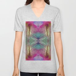 161 - Abstract colourful flowers design Unisex V-Neck