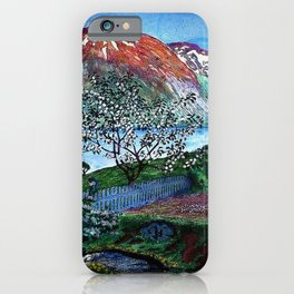 'June Night, Fjord Lakeside, in the Garden' alpine landscape painting by Nikolai Astrup iPhone Case