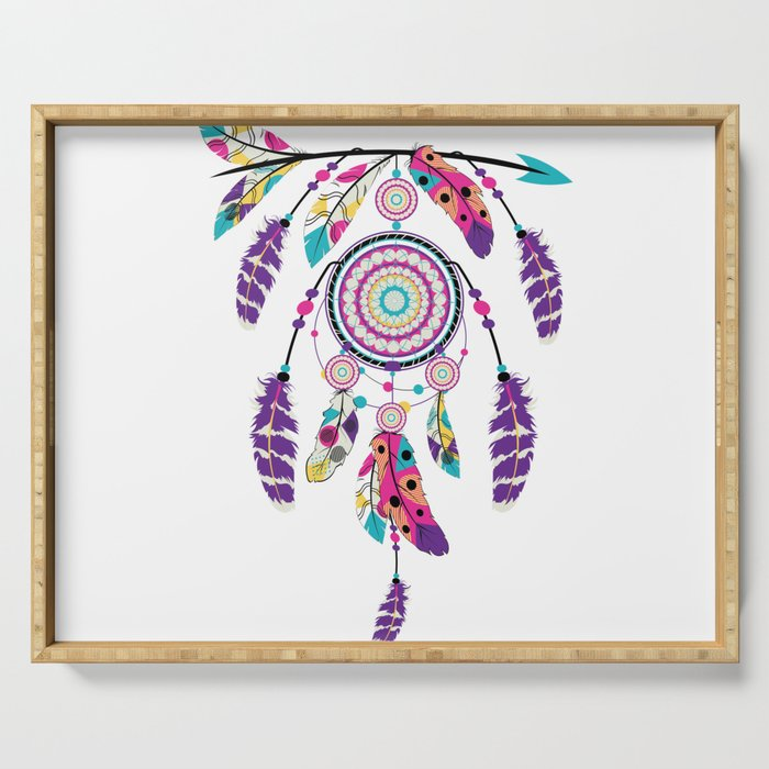 Colorful dream catcher on arrow Serving Tray