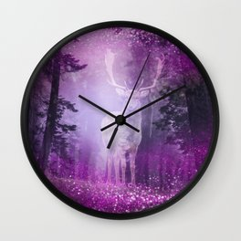 Fairy deer out of the woods mystic pink glitter forrest Wall Clock