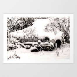 Abandoned Car in Frosty Snow Art Print