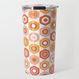 Buttons. Cute Geometric Pattern in Coral Pink and Ochre Mustard Travel Mug