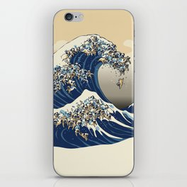 The Great Wave of Pugs Vanilla Sky iPhone Skin