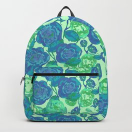 Blue Roses Floral Pattern // Roses Watercolor //Hand Drawn Roses Pattern// Blue & Green Backpack